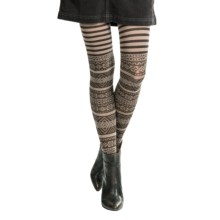 Pact Arrow Tights - Organic Cotton (For Women) in Dark Chocolate Fair Isle - Closeouts