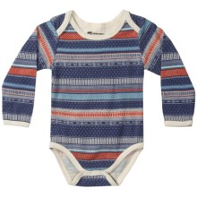 Pact Snapster Baby Bodysuit - Stretch Organic Cotton, Long Sleeve (For Infants) in Navy Harvest - Closeouts