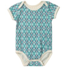 Pact Snapster Baby Bodysuit - Stretch Organic Cotton, Short Sleeve (For Infants) in Kites - Closeouts