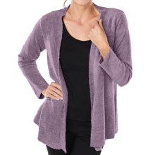 Paddi Murphy Boucle Cardigan Sweater - Open Front (For Women) in Plum - Closeouts