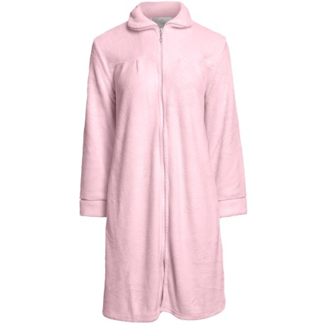 Paddi Murphy Short Robe - Front Zip, Peter Pan Collar (For Women) in Pink