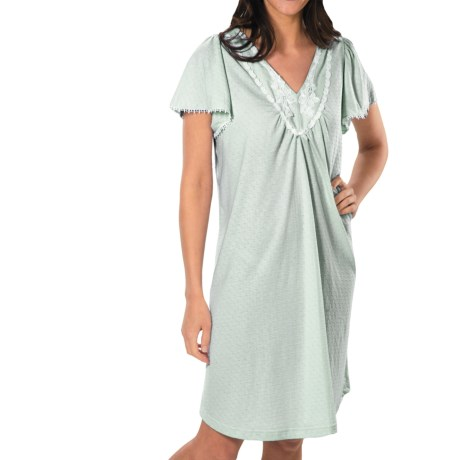 Paddi Murphy Softies Annie Nightgown - Pointelle Knit, Short Sleeve (For Women) in Pink