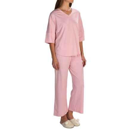 Paddi Murphy Softies Ava Capris Pajamas - Dri-Release®, Elbow Sleeve (For Women) in Desert Rose - Closeouts