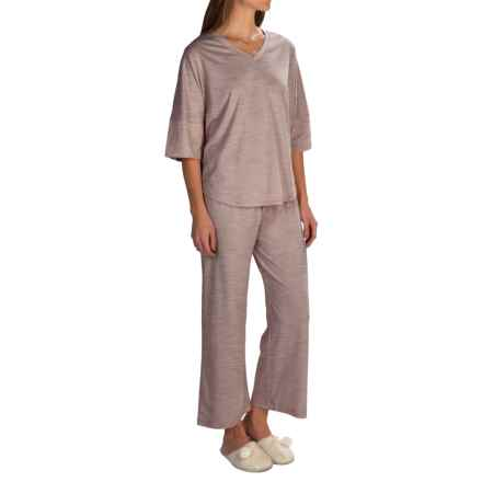 Paddi Murphy Softies Ava Capris Pajamas - Dri-Release®, Elbow Sleeve (For Women) in Taupe - Closeouts