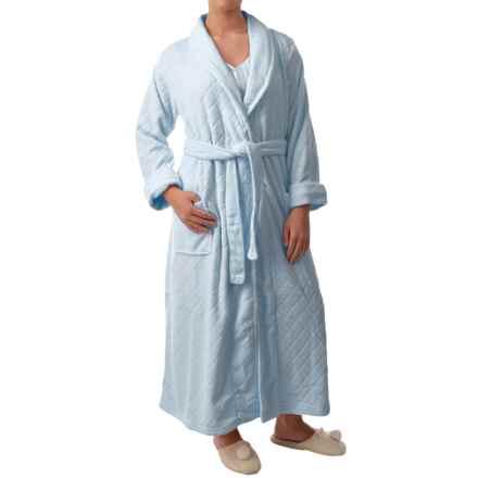 Paddi Murphy Softies Diamond Plush Fleece Robe - Long Sleeve (For Women) in Blue - Closeouts