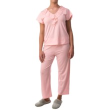 Paddi Murphy Softies Ellie Capris Pajamas - Short Sleeve (For Women) in Pink - Closeouts