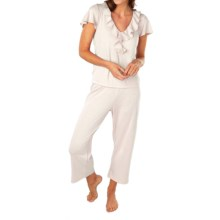 Paddi Murphy Softies Ellie Ruffle Pajamas - Short Sleeve (For Women) in Gardenia - Closeouts