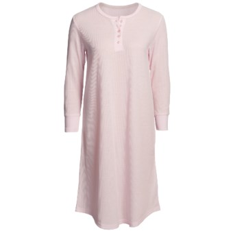 Paddi Murphy Softies Heidi Grandfather Thermal Nightshirt - Long Sleeve (For Women) in Pink