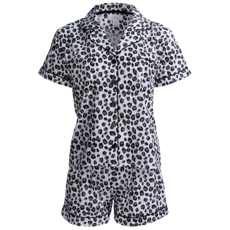 Paddi Murphy Softies Meghan Shorty Pajamas - Short Sleeve (For Women) in Snow Leopard