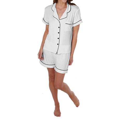 Paddi Murphy Softies Meghan Shorty Pajamas - Short Sleeve (For Women) in White