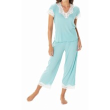 Paddi Murphy Softies Melanie Capri Pajamas - Short Sleeve (For Plus Size Women) in Blue Lagoon - Closeouts