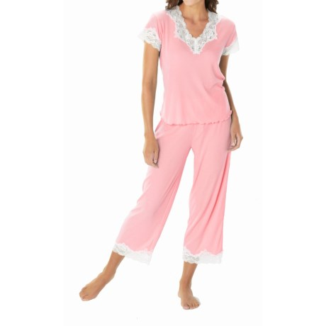 Paddi Murphy Softies Melanie Capri Pajamas - Short Sleeve (For Plus Size Women) in Pink