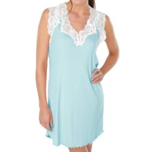 Paddi Murphy Softies Melanie Nightgown - Sleeveless (For Plus Size Women) in Blue Lagoon - Closeouts