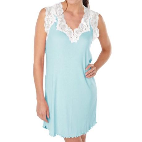 Paddi Murphy Softies Melanie Nightgown - Sleeveless (For Plus Size Women) in Blue Lagoon