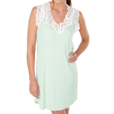 Paddi Murphy Softies Melanie Nightgown - Sleeveless (For Plus Size Women) in Blue Lagoon