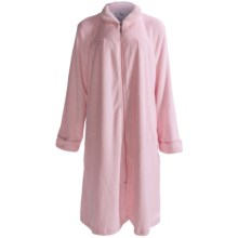 Paddi Murphy Softies Plush Velour Short Zip Robe - Peter Pan Collar (For Plus Size Women) in Pink - Closeouts