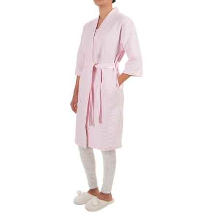 Paddi Murphy Softies Waffled Kimono Robe - Turkish Cotton, 3/4 Sleeve (For Women) in Pink - Closeouts