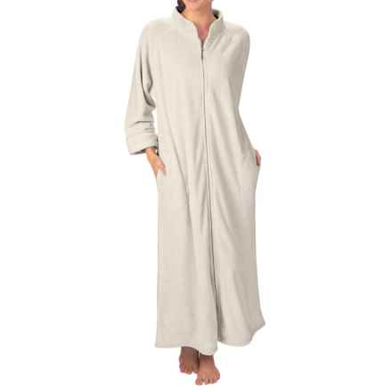 Paddi Murphy Ultra Plush Velour Robe - Mandarin Collar, Full Zip, Long Sleeve (For Women) in Ivory - Closeouts