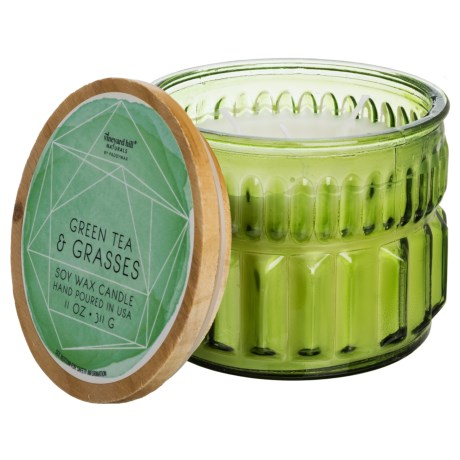 Paddywax Aquarelle Geode Green Tea and Grasses Soy Candle - 3-Wick, 11 oz. in Pistachio