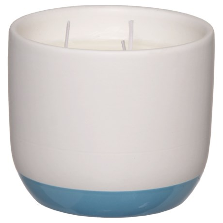 Paddywax Indigo Illustrations Tea Leaf and Lavender Three-Wick Candle - Soy Wax, 11 oz. in Blue