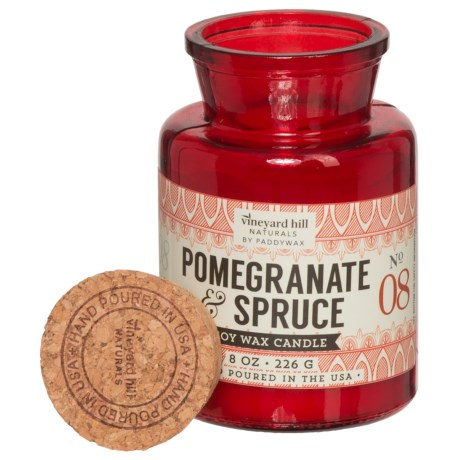 Paddywax Letterpress Pomegranate Spruce Mini Soy Candle - 8 oz. in Red