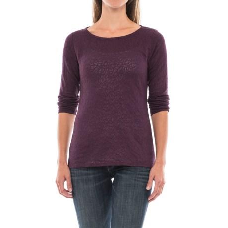 Paisley Jacquard Knit Shirt - Long Sleeve (For Women) in Grape