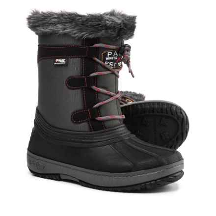 Pajar Joanie Mid Side-Zip Pac Boots - Waterproof, Insulated, Faux-Fur Trim (For Girls) in Grey/Black - Closeouts