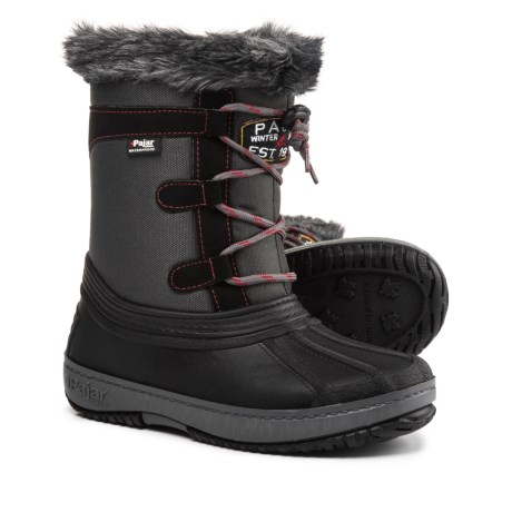 Pajar Joanie Mid Side-Zip Pac Boots - Waterproof, Insulated, Faux-Fur Trim (For Girls) in Grey/Black