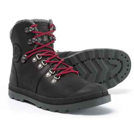 Palladium Pallabrouse Boots - Leather (For Women) in Black/Red/Castlerock - Closeouts