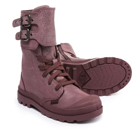 Palladium Pampa Peloton Zip Boots - Leather (For Girls) in Wine