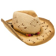 Panama Jack Drifter Cowboy Hat - Paper Straw (For Women) in Tea/Coral - Closeouts