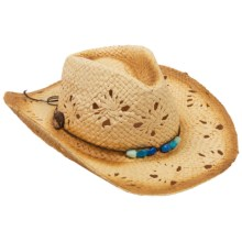 Panama Jack Drifter Cowboy Hat - Paper Straw (For Women) in Teal/Blue - Closeouts