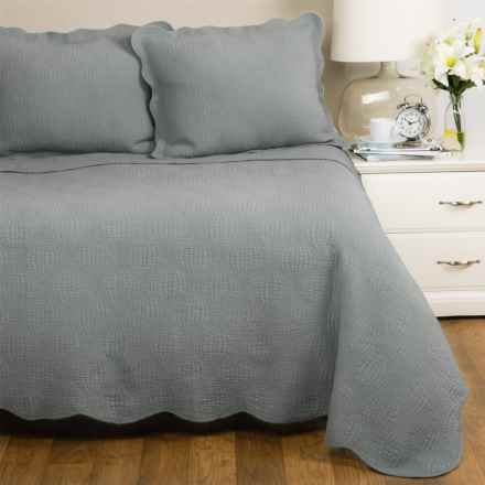 Panama Jack Wave Quilt Set - Queen in Grey - Closeouts