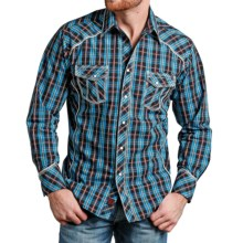 Panhandle 90 Proof Tartan Satin Plaid Western Shirt - Snap Front, Long Sleeve (For Men) in Blue/Dark Blue/Red - Closeouts