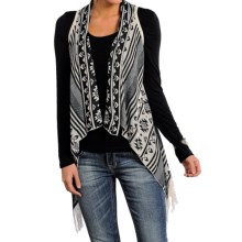 Panhandle Aztec Fringe Sweater Vest (For Women) in Black - Closeouts