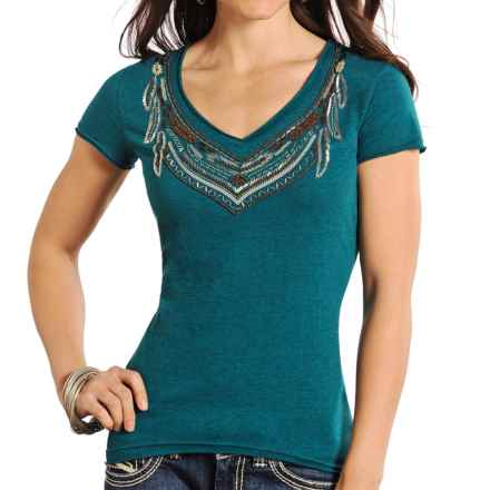 Panhandle Beaded Neck Shirt - Short Sleeve (For Women) in Dark Turquoise - Closeouts