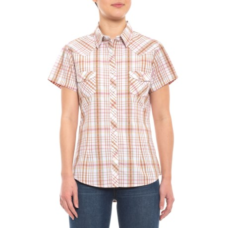90fe87e1 Panhandle Cactus Dobby Plaid Snap Shirt - Short Sleeve (For Women) in Cactus  Dobby