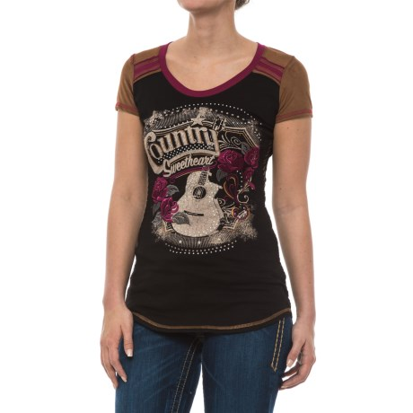 Panhandle Country Sweetheart Graphic Shirt - Faux-Suede Trim, Short Sleeve (For Women) in Black
