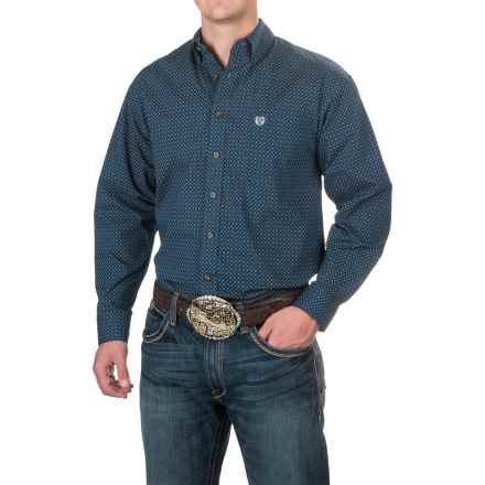 Panhandle Diamond Print Shirt - Button-Down Collar, Long Sleeve (For Men) in Navy - Closeouts