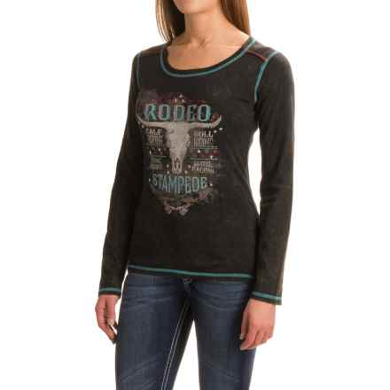 Panhandle Distressed and Studded Graphic Shirt - Long Sleeve (For Women) in Black - Closeouts