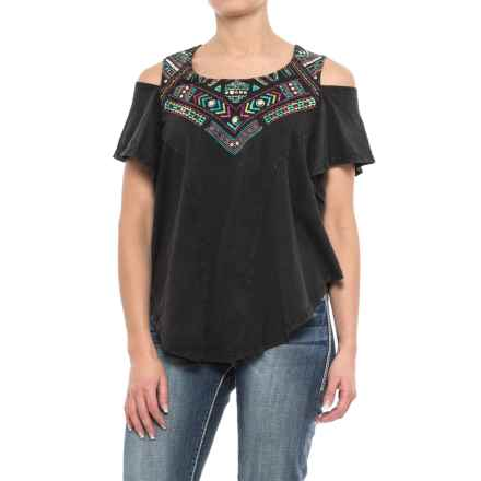 Panhandle Embroidered Cold-Shoulder Shirt - Short Sleeve (For Women) in Black - Closeouts