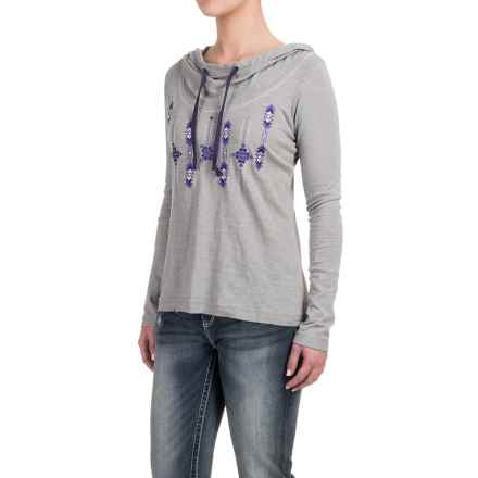Panhandle Embroidered Hooded Shirt - Long Sleeve (For Women) in Grey - Closeouts