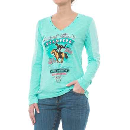 Panhandle Jersey Knit Shirt - V-Neck, Long Sleeve (For Women) in Aqua Splash - Closeouts
