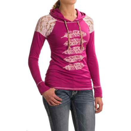 Panhandle Lace and Feather Hooded Shirt - Long Sleeve (For Women) in Magenta - Closeouts