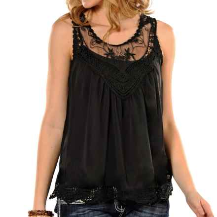 Panhandle Lace Chiffon Tank Top (For Women) in Black - Closeouts