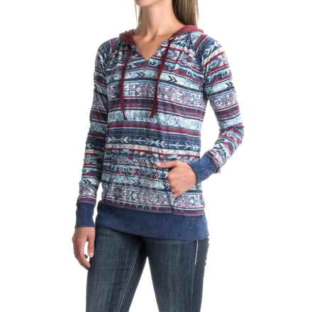 Panhandle Print Rhinestone Hooded Shirt - Long Sleeve (For Women) in Blue/Red - Closeouts