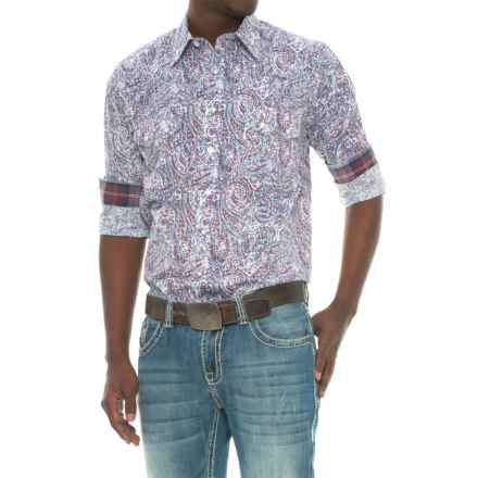 Panhandle Printed Poplin Shirt - Snap Front, Long Sleeve (For Men) in Blue - Closeouts