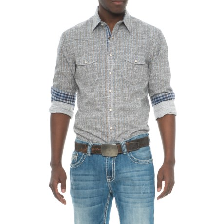 Panhandle Rough Stock Distressed Geometric Print Shirt - Long Sleeve (For Men) in Light Blue