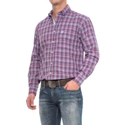 Panhandle Rough Stock Plaid Shirt - Long Sleeve (For Men) in Maroon/Blue - Closeouts