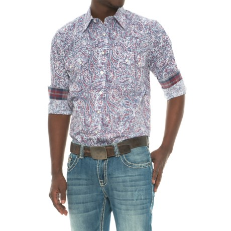 Panhandle Rough Stock Printed Poplin Shirt - Snap Front, Long Sleeve (For Men) in Blue